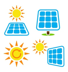 Solar panel - eco eergy icons set vector image