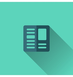 Blue newspaper icon flat design vector