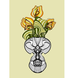 Vase with spring flowers tulips vector