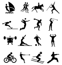Sports people icons set vector