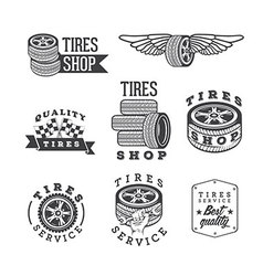 Set of tires shops and service emblems vector