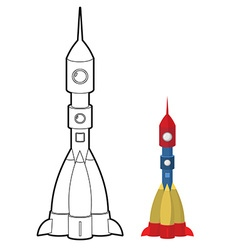 Rocket coloring book space transport astronauts vector