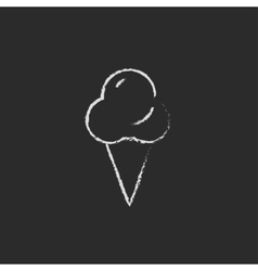 Ice cream icon drawn in chalk vector