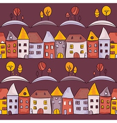 Village seamless pattern vector