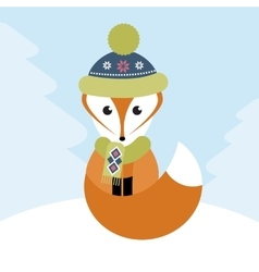 Fox in the winter forest vector