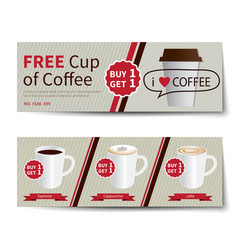 Coffee coupon discount template flat design vector