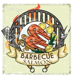 Bbq grill label design - salmon vector