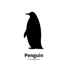 black silhouette of a penguin vector image