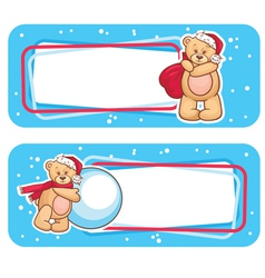 christmas labels with bear vector image