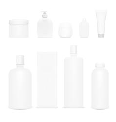 Cosmetics set isolated plastic cosmetic bottles vector
