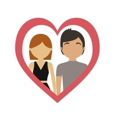 Couple love frame heart together vector