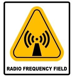 Danger banner radio frequency field in yellow vector image vector image