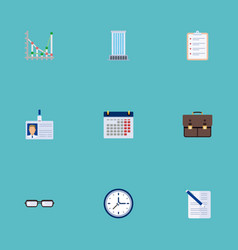 flat icons calendar clock task list and other vector image