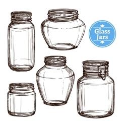 Glass jars set vector