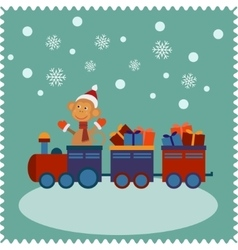 Greeting card with happy monkey Santa vector image vector image
