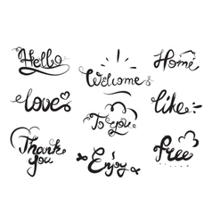 Hand drawn elegant catchwords for your design vector image