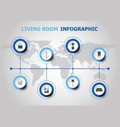 Infographic design with living room icons vector