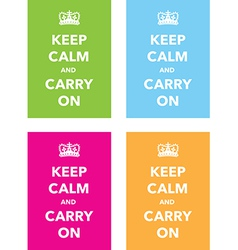 keep calm signs set vector image vector image