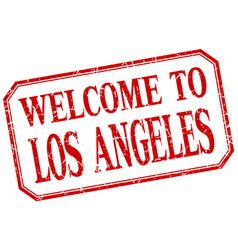 Los angeles - welcome red vintage isolated label vector