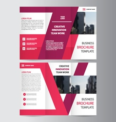 Purple trifold brochure flyer leaflet templates vector