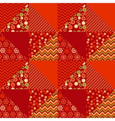 Red color traditional ornament patchwork pattern vector