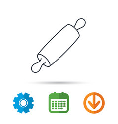 rolling pin icon kitchen baker roller sign vector image