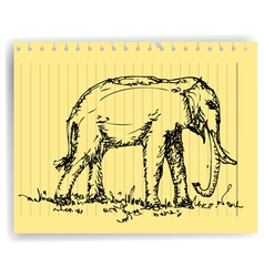 sketch drawing elephanton lined paper page vector image vector image