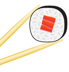 Sushi roll logo with stick vector
