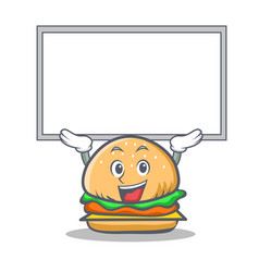 Up burger character fast food with board vector