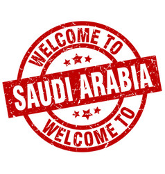 Welcome to saudi arabia red stamp vector