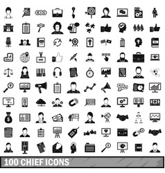 100 chief icons set simple style vector