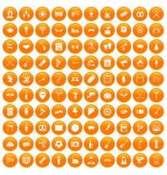 100 meeting icons set orange vector