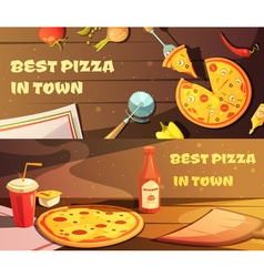 Best pizza horizontal banners vector