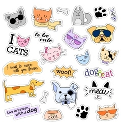 Fashion patch badges cats and dogs set stickers vector