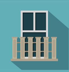 Balcony balustrade with window i icon flat style vector