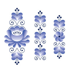 Russian folk art pattern - gzhel ceramics style vector