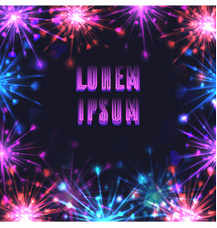 Square frame with festive fireworks and a place vector