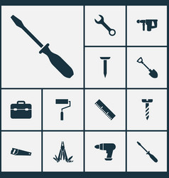 Handtools icons set collection of turn-screw vector