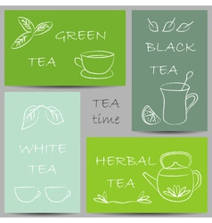 Tea kinds banners chalky doodles vector