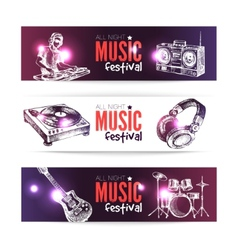 Banners of music design set of hand drawn sketch vector