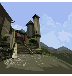 Entrance to the medieval castle fantasy vector