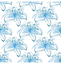 Light blue lily floral seamless pattern vector