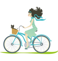 Girl cycling vector