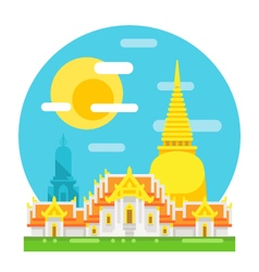 Thailand temple flat design landmark vector