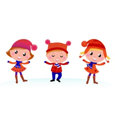 Cute winter kids vector