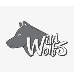 Wild wolf with grey wolf silhouette vector