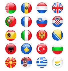 Europe flags buttons part one vector