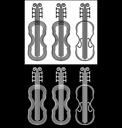 Violin black and white stroke vector