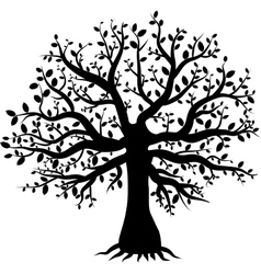 Silhouette of a tree decor with leaves vector