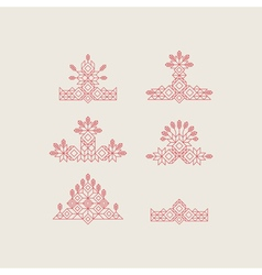 Set of vintage graphic elements line art vector